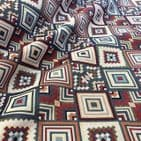Tapestry Fabric - Curtains Upholstery Cotton Mix  - Large Aztec